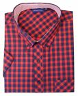 ESPIONAGE CottonBlend Short Sleeve Block Check Shirt(176),Size 2XL-8XL,2 Options