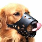 Black Leather Dog Muzzles Adjustable quality and fastenings all round protect