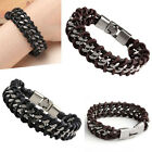 MEN Stainless Steel Genuine Braided Leather Curb Chain Surfer Bracelet Wristband