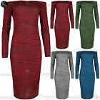 Womens Midi Dress Ladies Marl Knitted Off The Shoulder Bardot Bodycon Slash Neck