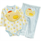 NEW 3 Piece Infant / Baby Long Sleeve Bodysuits / Pants / Bibs CHICK 6~12months