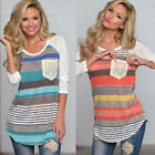 Autumn Women Colorful Striped Long Sleeve T Shirt Blouse Pocket Loose Tops Tee