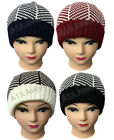 New Ladies Women's Mens Woolly Knitted Beanie Hat 4 Pattern Designs Accessory