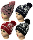 New Ladies Women's Woolly Knitted Beanie Retro  Pompom Hat Accessory
