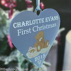 Babies First Christmas Heart Bauble Teddy Decoration Personalised Gifts Present