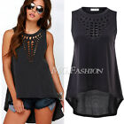 Womens Sexy Casual Hollow Sleeveless Oversize Loose Black T Shirt Tee Top Blouse