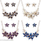 Womens Jewelry Chain Pendant Crystal Choker Statement Bib Necklace + Earrings