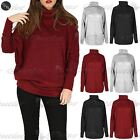 Womens Ladies Cowl Neck Long Batwing Sleeves Cuffs Oversized Knitted Jumper Top