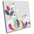 Floral  Colourful Abstract SINGLE CANVAS WALL ART Picture Print VA
