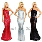 Dazzling One Shoulder Fishtail Trumpet Evening Party Holiday Prom Mermaid Dress