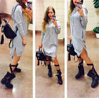 New Women's Loose Hoodie With Cap T-Shirt Long Sleeve Mini Dress Tops Blouse #2