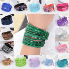 New Fashion Men Women Leather Bracelet Multilayer Punk Charm Crystal Cuff Bangle
