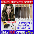 """18-19"""" Nano Ring Russian Human Hair Extension New Technique Soft More Comfort"""