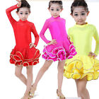 Girls Sequined Competition Latin Salsa Dancing Dress Kid Party Dancewear Costume