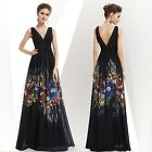 Women's Black Elegant Sleeveless Maxi Floral Printed Evening Party Dress 08724