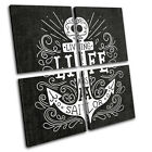 Navy Anchor Illustration Vintage MULTI CANVAS WALL ART Picture Print