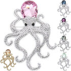 Luxury Octopus Squid Figural Art Brooch Pin Crystal Clear Costume Jewel Lady 3""