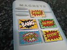Choice of Comic Book Pop Art Fridge Magnet. Superhero Action Slogans. Batman etc