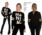 womens black gold long sleeve casual top blouse shirt tunic sweater S-L