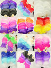 HAND MADE PAIRS 15M BELLY DANCE 100 SILK BAMBOO FAN VEILS MULTICOLOR +BAG