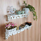 Milk-white Shabby Chic Filigree Style Shelves Cut Out Design Wall Shelf Home -US