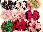 "4.5"" Large Dot Spot Grosgrain Ribbon Stacked Boutique HAIR BOW Clip Clips Bows"