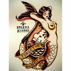 Forget Me Not Canvas Giclee by Susana Alonso Traditional Tattoo Mermaid Nautical