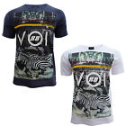 Voi Jeans Green Mens Zebra City Scape Print Crew Neck T-Shirt Tee Top