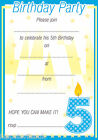 20x A5 Boys 1st 2nd 3rd 4th 5th Write your own Kids Birthday Party Invites H0100