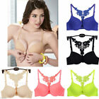 Sexy Fashion Women Front Closure Lace Back Push Up Racerback Bras Lady Underwear