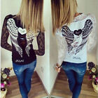 Womens Loose Lace Long Sleeve Sexy Slim T Shirt Casual Blouse Top Plus Size 8-22