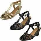 Ladies Van Dal Temple Black Patent Leather T-bar Wedge Sandals D Fitting