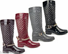 High Gloss Quilted Wellington Boots Flexible Buckle Quilt Wellies Womens Ladies