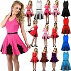 Womens Ladies Racer Back Plain Belted Flared Swing Lace Skater Dress Plus Size