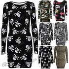 Womens Ladies Army Skull Zebra Slim Fit Long Sleeves Short Bodycon Mini Dress