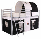 New Cabin Metal Loft Bed Frame Boys Pirate    With Optional Single 3ft Mattress
