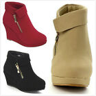 Brand New Kids Girl's Platform Wedge Low Heel Fold Over Ankle Booties Shoes
