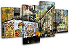 New York Graffiti Grunge Urban MULTI CANVAS WALL ART Picture Print