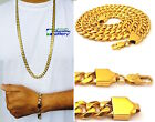 """14K YELLOW GOLD FINISH 10mm STAINLESS STEEL MIAMI CUBAN LINK CHAIN 24"""", 30"""",36''"""
