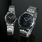Fashion Retro Black Leather Ladies Women Mens Sport Quartz Lovers Couple Watch