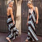 ZARA NEW COLLECTION 2015. BLUE BLACK STRIPED MAXI LONG DRESS. REF 7657/607.