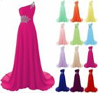 Long Chiffon Prom Dress with Beadings Bridesmaid Evening Cocktail Dresses