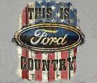 Ford Country with Flag GREY Distressed Adult T-shirt