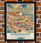Framed Sheringham Norfolk Railway Travel Poster A4/A3 Size In Black/White Frame