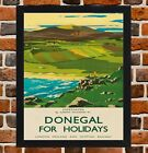 Framed Donegal Ireland Railway Travel Poster A4 / A3 Size In Black / White Frame