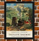 Framed Talyllyn Railway Wales Travel Poster A4 / A3 Size In Black / White Frame