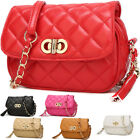 Women Ladies Shoulder Quilted Handbag Gold Chain Faux Leather Cross Body Bag
