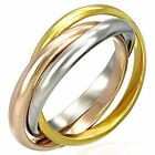Stainless Steel Three Gold-Tone Interlocking Polished Ring Band Set, 3 mm Wide