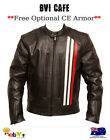 Mens Leather Jacket Coat Biker Motorcycle Premium Leather Jacket- Bvi Cafe NEW