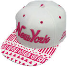 Baseball State Property New York Aztec White Pink Snapback Flat Peak Cap Hat